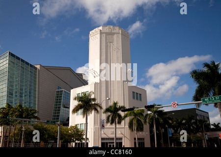Art Deco Tower of the Adrienne Arsht Center for the Performing Arts in Downtown Miami, Florida, USA - Stock Photo