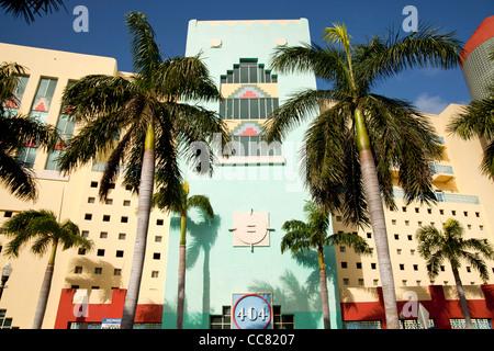 404 Washington Avenue Building, Art Deco District, South Beach, Miami, Florida, USA - Stock Photo