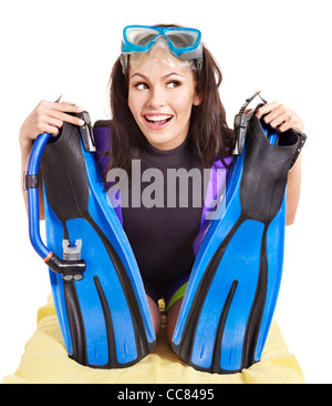 Girl wearing diving gear. Isolated. - Stock Photo