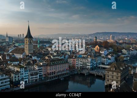 View from Grossmuenster over Zürich, Switzerland. - Stock Photo