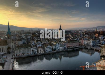 View from Grossmuenster, Zürich, Switzerland. - Stock Photo