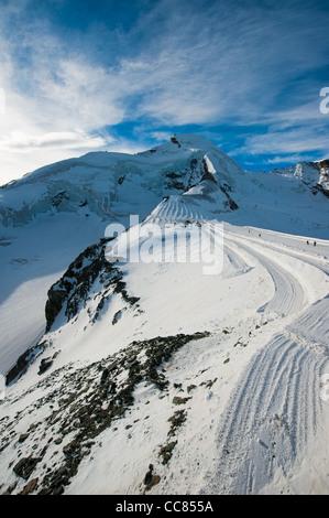 Allalinhorn mountain peak at Saas Fee, Wallis, Switzerland - Stock Photo