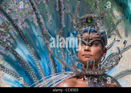 Male Brazilian Samba Dancer at Notting Hill Carnival - Stock Photo