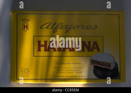 Box of Argentinian alfajores by famous manufacturer Havanna - Stock Photo