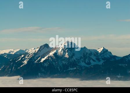 Pilatus mountain peak, view from Rigi, Switzerland - Stock Photo