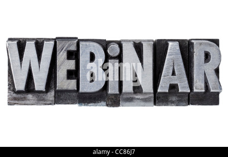 webinar - internet education concept - isolated word in grunge vintage metal letterpress printing blocks - Stock Photo