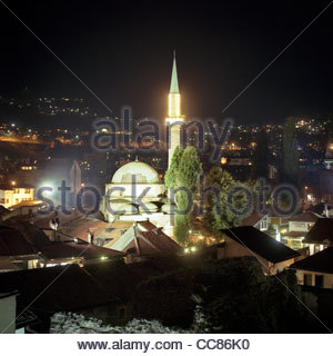 The Gazi Husrev-bey Mosque at night, Sarajevo, Bosnia and Herzegovina - Stock Photo