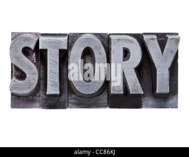 story - isolated word in grunge vintage metal letterpress printing blocks - Stock Photo