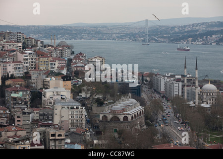 View of the Bosphorus from Galata Tower, Istanbul. - Stock Photo