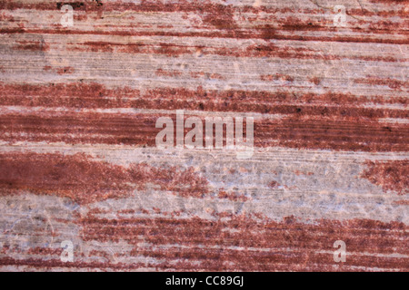 red and white horizontal sandstone layers - Stock Photo