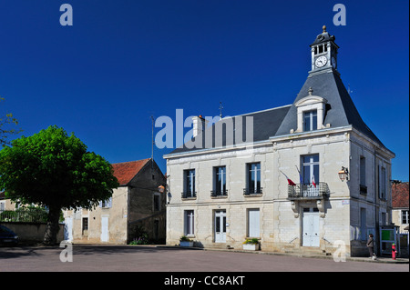 The town hall at Mailly le Chateau, on the River Yonne in Burgundy. France. Space for text in the sky - Stock Photo