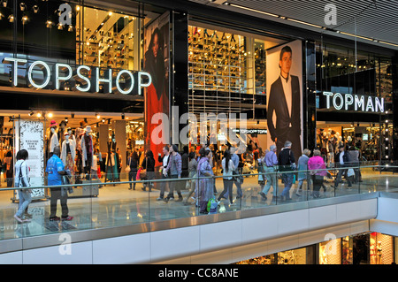 Topshop and Topman stores in the Westfield Stratford indoor shopping malls - Stock Photo