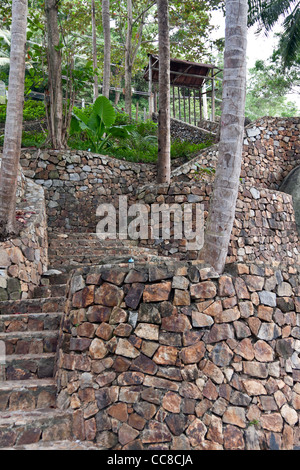 stone staircase in the jungles of southern Thailand - Stock Photo