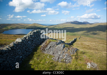 View towards the High Mournes from Pigeon Rock Mountain, Mourne Mountains, County Down, Northern Ireland. - Stock Photo
