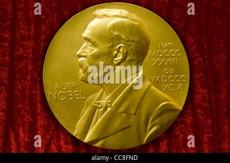 Johannes V. Jensens Nobel Prize winner medal from 1944 - Stock Photo