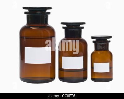 Detail photo of three pharmacists bottles - Stock Photo