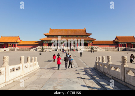 The Gate of Supreme Harmony, seen across the first courtyard in the Forbidden City, Beijing - Stock Photo