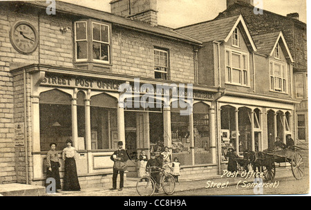 Postcard of the Post Office, Street, Somerset. - Stock Photo