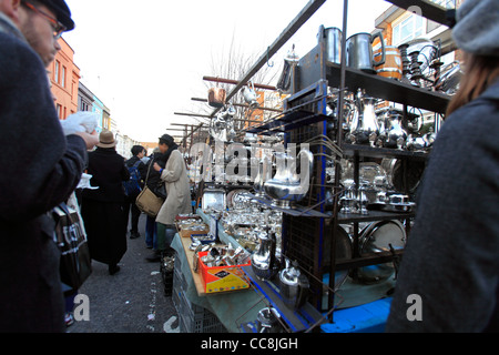 united kingdom london borough of kensington and chelsea portobello road saturday antiques market - Stock Photo