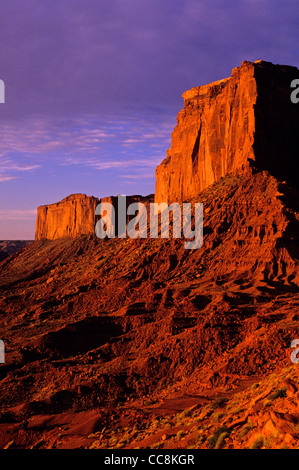 Monument Valley red rock formations at sunrise - Stock Photo