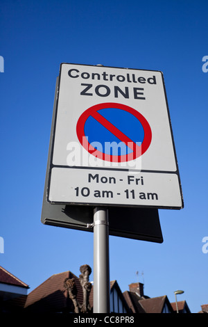 Controlled zone, no parking sign, England, UK - Stock Photo