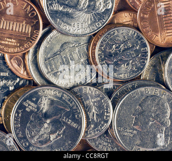 pile of US coins - Stock Photo