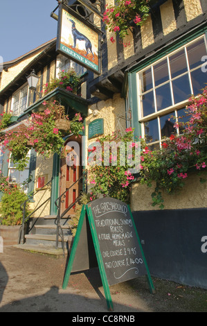 The Greyhound Pub in Lavenham Suffolk UK - Stock Photo
