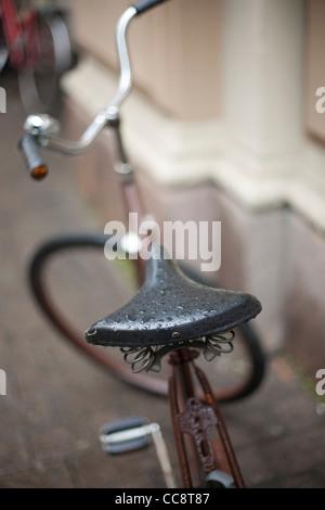 Bike in the city on a rainy day, Helsinki, Finland - Stock Photo