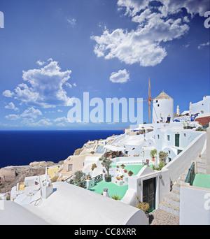 A view over a village on Santorini island - Stock Photo