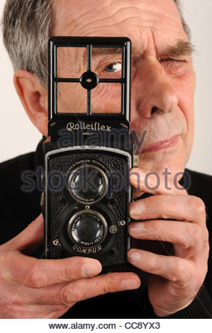 Standard Rolleiflex 6x6 K2 twin lens reflex camera made in 1932 - Stock Photo