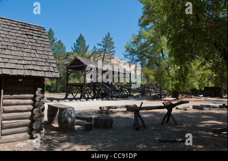 Replica of Sutters Mill, site of California's first Gold Discovery, in the Gold Country of Coloma California - Stock Photo