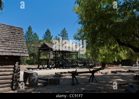 Replica of Sutters Mill, site of California's first Gold Discovery, in the Gold Country of Coloma California USA - Stock Photo