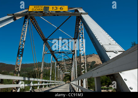 Bridge across American river near Sutter's Mill, sight of the California Gold Strike, Marshall State Park - Stock Photo