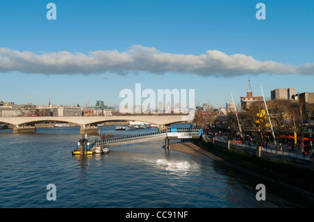 River Thames View From Hungerford Bridge - Stock Photo