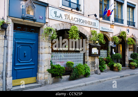la machonnerie restaurant in old town vieux lyon france unesco stock photo royalty free image. Black Bedroom Furniture Sets. Home Design Ideas