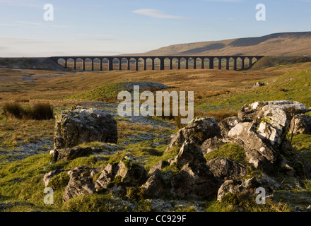 Limestone Pavement at the Ribblehead Viaduct across the River Ribble at Ribblehead, Chapel-le-dale in North Yorkshire, - Stock Photo
