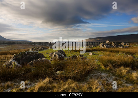 Limestone Pavement at the Ribblehead Viaduct across the River Ribble at Ribblehead, in North Yorkshire, UK - Stock Photo