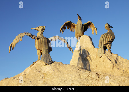 The Tern Project, metal cormorants sculpted by Brian Fell, Morecambe, north west England, UK - Stock Photo