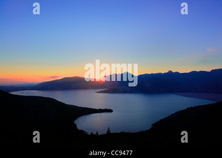 Spirit Lake at sunset from Donnybrook Viewpoint, Mount Saint Helens National Volcanic Monument, Washington. - Stock Photo