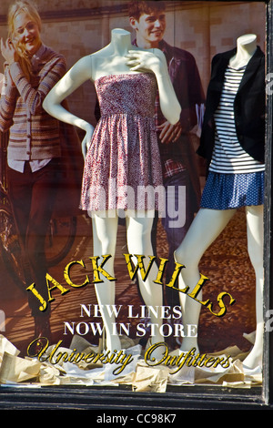 Window display, Jack Wills store, Market Place, St Albans, Hertfordshire, England, UK - Stock Photo