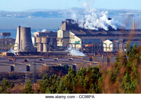 view overlooking the tata steelworks formerly steel company of wales and corus in margam port talbot - Stock Photo