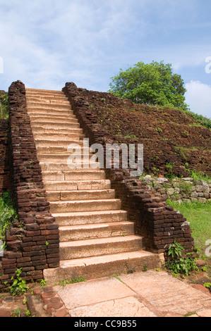 Staircase on the summit of Lion's Rock in Sigiriya, Sri Lanka. - Stock Photo