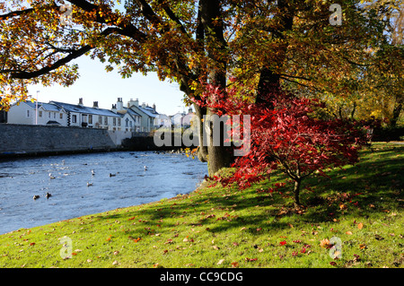 The river Greta from Upper Fitz Park, Keswick, Lake District - Stock Photo