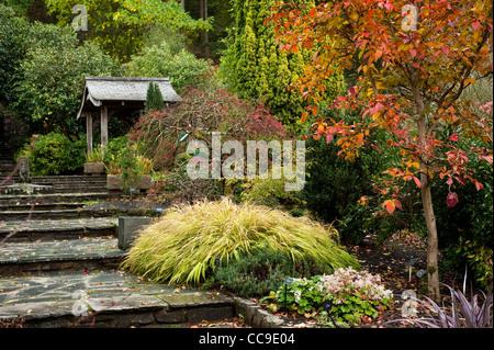 The Stone Garden in autumn, RHS Rosemoor, Devon, England, United Kingdom - Stock Photo