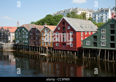 Wooden  buildings  the river Nidelva  Trondheim Norway - Stock Photo