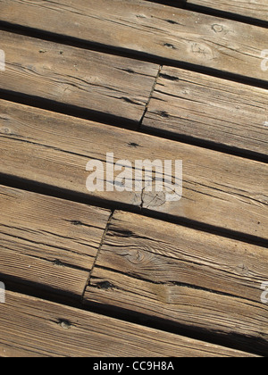 old floor boards on pier jetty - Stock Photo