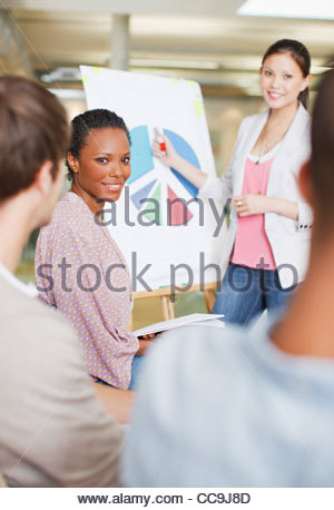 Business people discussing pie chart in meeting - Stock Photo