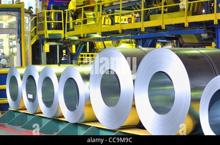 rolls of zinc steel sheet - Stock Photo