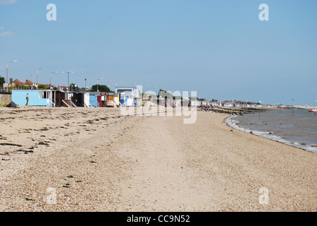 Beach Huts on the Beach at Thorpe Bay, Southend-on-Sea, Essex, England, UK - Stock Photo