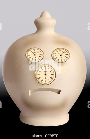 Intended as a slightly humorus look at poor savings rates, this image shows a sad face made from clock faces to - Stock Photo